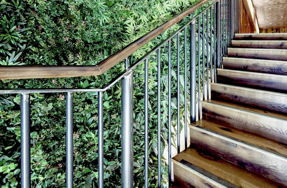 Artificial green wall on staircase